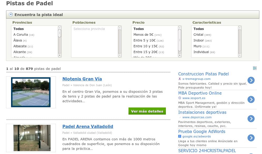 Instalaciones Deportivas de PistaEnJuego.com